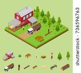 lumberjack and sawmill building ... | Shutterstock .eps vector #736596763