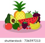 fruit on table cartoon | Shutterstock .eps vector #736597213
