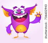 angry cartoon monster. vector... | Shutterstock .eps vector #736602943