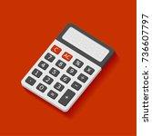 electronic calculator in flat... | Shutterstock .eps vector #736607797