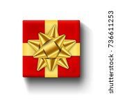 red gift box top view  isolated ... | Shutterstock .eps vector #736611253