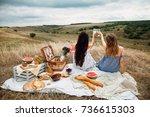 beautiful young girls... | Shutterstock . vector #736615303