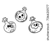 bottles with skulls  ghost and... | Shutterstock .eps vector #736620577