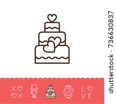 wedding cake icons  bride and... | Shutterstock .eps vector #736630837