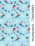 seamless pattern with sailing ... | Shutterstock .eps vector #736634863