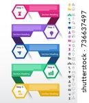 five steps  timeline... | Shutterstock .eps vector #736637497
