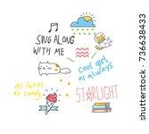 cool t shirt design in doodle... | Shutterstock .eps vector #736638433
