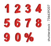 red number 3d icon set vector | Shutterstock .eps vector #736639207