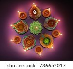 colorful diya during diwali... | Shutterstock . vector #736652017