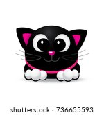 cute black cat with pink nose   ... | Shutterstock .eps vector #736655593