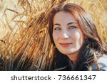 portrait of a nice woman on a... | Shutterstock . vector #736661347