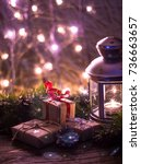 Small photo of Christmas and New Year's decorations are all set in the light. There is bokeh glow. Space on top for your wording.