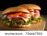 home made hamburger with beef ... | Shutterstock . vector #736667503