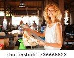 female paleontologist examining ...   Shutterstock . vector #736668823