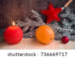 christmas composition of red... | Shutterstock . vector #736669717