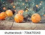 christmas concept with... | Shutterstock . vector #736670143