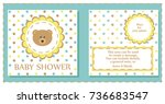 baby shower cute card. vector... | Shutterstock .eps vector #736683547