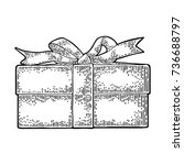 gift box with ribbon and bow....   Shutterstock .eps vector #736688797