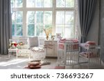 room for baby  baby round crib  ... | Shutterstock . vector #736693267