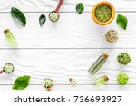 natural cosmetics with tea... | Shutterstock . vector #736693927