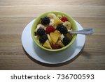 fruit and berry salad  oranges  ... | Shutterstock . vector #736700593