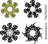tribal tattoo sun  flame tribal ... | Shutterstock .eps vector #736702507