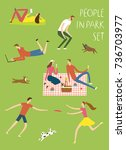 people resting and playing in... | Shutterstock .eps vector #736703977