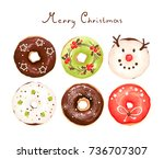 collection of colorful glazed... | Shutterstock .eps vector #736707307