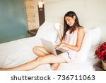 beautiful indian woman working... | Shutterstock . vector #736711063