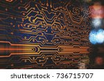 abstract circuit board... | Shutterstock . vector #736715707