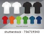 men's polo shirt mockup  set of ... | Shutterstock .eps vector #736719343
