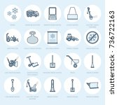 snow removal flat line icons.... | Shutterstock .eps vector #736722163