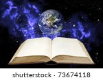 blank book and the earth in the ... | Shutterstock . vector #73674118