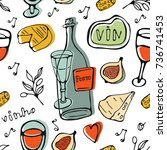 seamless pattern with wine and... | Shutterstock .eps vector #736741453