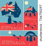 welcome to australia vintage... | Shutterstock .eps vector #736750297