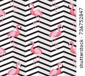cute retro seamless flamingo... | Shutterstock . vector #736752847
