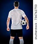one caucasian soccer player man ... | Shutterstock . vector #736762753