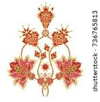 stylized golden shiny flowers... | Shutterstock . vector #736765813