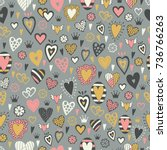 romantic seamless pattern with... | Shutterstock .eps vector #736766263