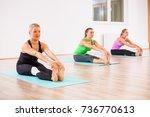 three girls practicing yoga ...   Shutterstock . vector #736770613