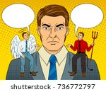 devil and angel on businessman... | Shutterstock .eps vector #736772797