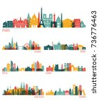 skyline detailed silhouette set ... | Shutterstock .eps vector #736776463