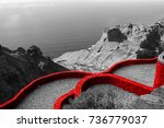 fortified red wall of the...   Shutterstock . vector #736779037