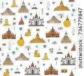 myanmar burma travel...   Shutterstock .eps vector #736779847
