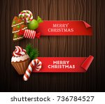 christmas banners set. vector... | Shutterstock .eps vector #736784527