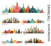 skyline detailed silhouette set ... | Shutterstock .eps vector #736786063
