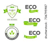 eco icons  labels set. organic... | Shutterstock .eps vector #736795987