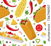 mexican food seamless pattern.... | Shutterstock .eps vector #736798507
