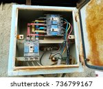 an old and rusty electric...   Shutterstock . vector #736799167