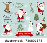 christmas santa and animals... | Shutterstock .eps vector #736801873